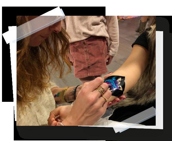 Atelier tatouages avec paillettes